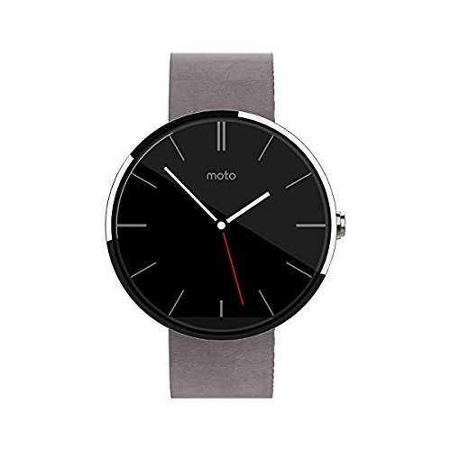 Motorola moto 360 Light Stainless Steel Case (with Grey Leather Band)
