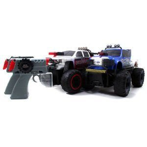 2010 Chevy 銀ado 銀 Vs. 2009 Ford F-350 青 1/16 R/C Battle Machines (2 Car Set)