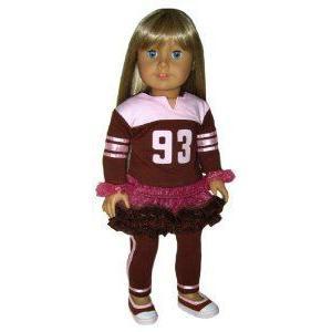 褐色 Top, Leggings, Tulle Skirt, and Wrist Bands. Doll Clothes Fit 18