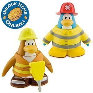 Club Penguin クラブペンギン 2 Inch Mix 'N Match Figure Pack - Construction Worker and Firefighter