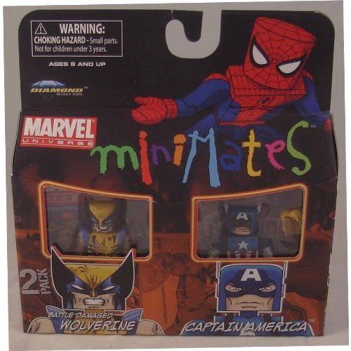 Marvel マーブル Minimates 2-Pack Battle Damaged Wolverine ウルヴァリン and Captain America キャプ