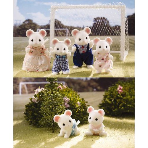 Calico Critters Milky Mouse Family & Twins 6 Figure Set フィギュア 人形 おもちゃ