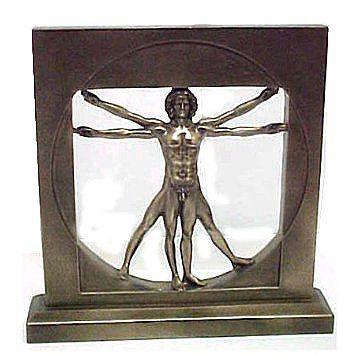 レオナルド・ダ・ヴィンチ 男性ブロンズ彫像 ウィトルウィウス的人体図