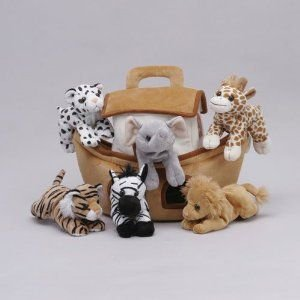 Plush Noah's Ark with Animals - Six (6) Stuffed Animals (Lion, Zebra, Tiger, Giraffe, Elephant, an