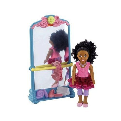 FISHER-PRICE LOVING FAMILY SISTER DOLL PLUS BALLET STAND WITH MIRROR - AA/AFRICAN AMERICAN 人形 ド