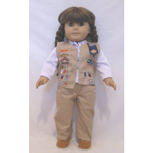 Doll Clothing Darling Little Girl Scout Cadet Sout Uniform. Includes, the Pants, Vest, Shirt and S