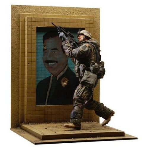U.S. Army 3rd I.D. Action Figure w Bullet Riddled Saddam Hussein Mosaic Base by Dusty Trail Toys