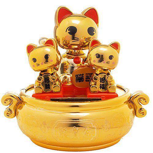 Solar Bobblehead Toy Figure - ゴールド Kitten Litter フィギュア ダイキャスト 人形
