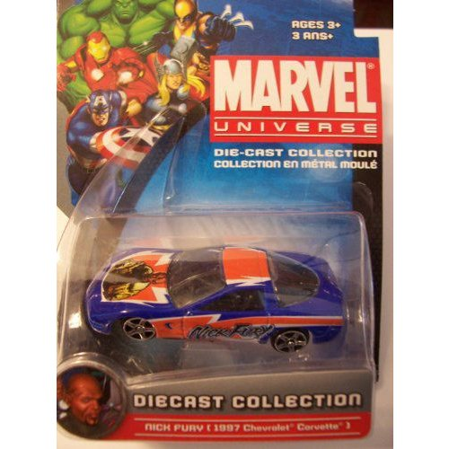 Marvel Universe Die-Cast Collection ~ Nick Fury 1997 Chevrolet シボレー Corvelle (青 and オレンジ)