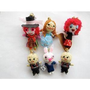 Alice in Wonderland (不思議の国のアリス) 6 x Voodoo String Doll Keychain Set ドール 人形 フィギュ