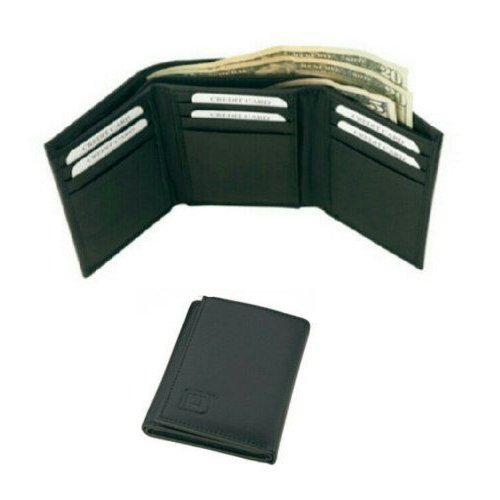 Genuine Leather RFID Blocking Secure Wallet Tri-Fold 9 slots (黒) - By Identity Stronghold