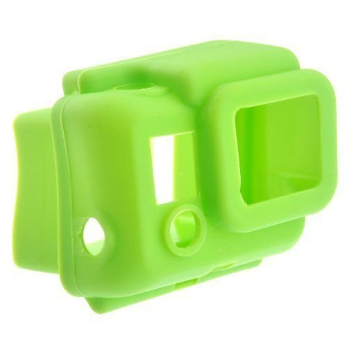 Protective Hooded Silicon Cover Case for GoPro HD HERO3 緑