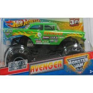 Hot Wheels (ホットウィール): Monster Jam - 緑 Avenger 1:24 スケール ミニカー ダイキャスト 車 自