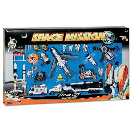 Space Mission 28 Piece Playset W/MISSION Control Sign ミニカー ダイキャスト 車 自動車 ミニチュア