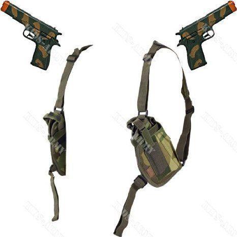 Double-Draw Shoulder Holster & Beretta Water Guns Combo - Woodland Camo