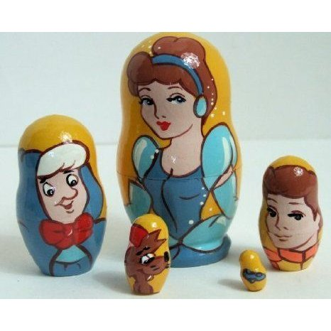 5pcs Hand Painted Russian Nesting Doll of CINDERELLA MEDIUM ドール 人形 フィギュア