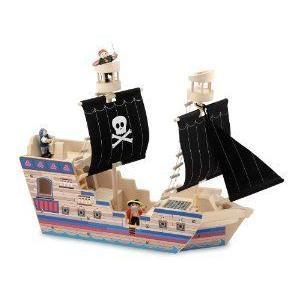 Melissa & Doug (メリッサ&ダグ) Deluxe Pirate Ship Play Set ミニカー ミニチュア 模型 プレイセット