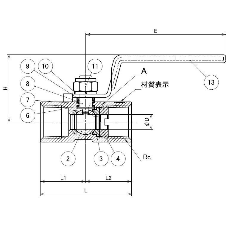 ステンレス レデュースドボールバルブ ねじ込み  SCS13A(SUS304相当) V03-304-03 3/8(10A) valve-and-fitting 02