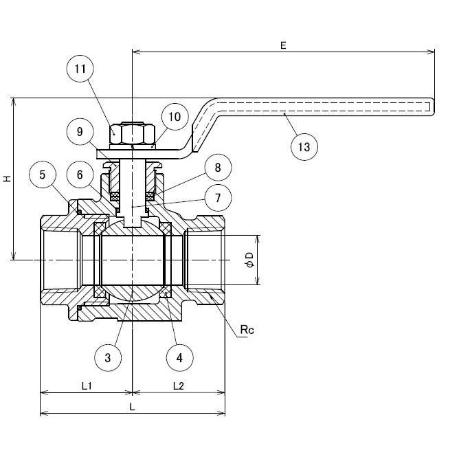 ステンレス フルボアボールバルブ ねじ込み  SCS14A(SUS316相当) V06-03 3/8(10A)|valve-and-fitting|02
