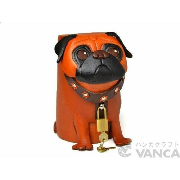 【送料無料】【貯金箱】パグ【即納】【本革/レザー/犬/イヌ/いぬ/動物】 【VANCA革物語】【日本製/職人のハンドメイド】【VANCA革物語】fs3