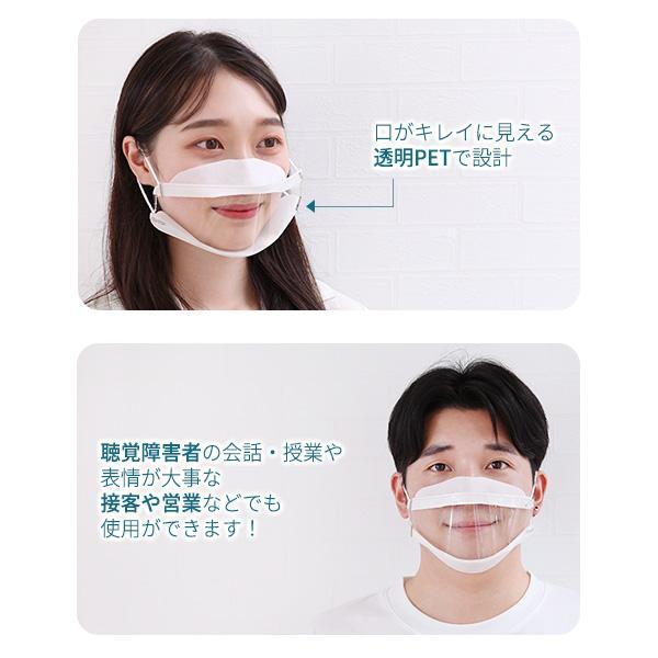 抗菌透明マスク 3枚セット ウイルス  繰り返し 口元 接客 飲食店 美容 医療 飛沫防止 笑顔 聴覚障害 口が見える レディース メンズ 男女兼用 ネコポス|vaniastore|02