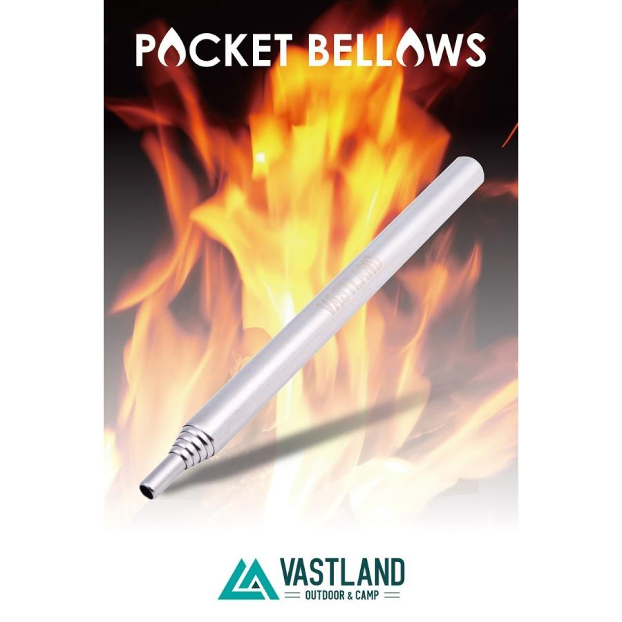 VASTLAND 火吹き棒 火起こし器 ふいご キャンプ BBQ 焚き火 伸縮6段式 カラビナ収納ケース付き|vastland|02