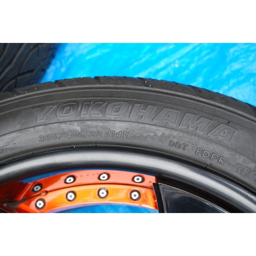 中古 VELLANO VJK 22インチ アルミホイール 4本 セット タイヤ 付き ヨコハマ PARADA Spec-x 305/40/22 ベラーノ TOYOTA ランドクルーザー ve1 03