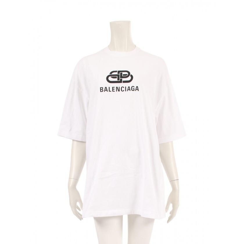 ブランド品専門の 【】バレンシアガ BALENCIAGA Tシャツ オーバーサイズ BB バレンシアガ 白 黒 XS トップス 半袖 プリント 570813 コットン レディース 【ベクトル 古着】, cute angel 5d7cdcbb