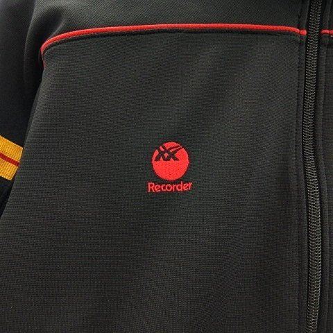 【中古】アシックス asics 美品 80's ヴィンテージ Recorder トラックジャケット ジャージ ジップアップ 日本製 ブラック 黒 イエロー 黄 レッド 赤 vectorpremium 05