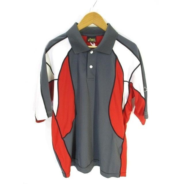 【中古】アシックス asics スポーツ ウェア ポロシャツ 半袖 ロゴ ワンポイント 灰色 白 赤 グレー ホワイト レッド L メンズ 【ベクトル 古着】|vectorpremium