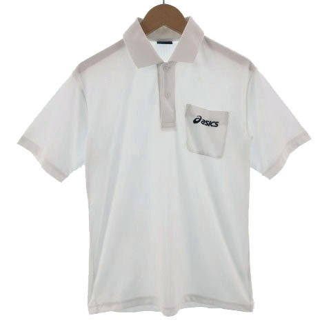 【中古】アシックス asics ポロシャツ 半袖 ロゴ刺繍 ホワイト 白 S メンズ 【ベクトル 古着】 vectorpremium