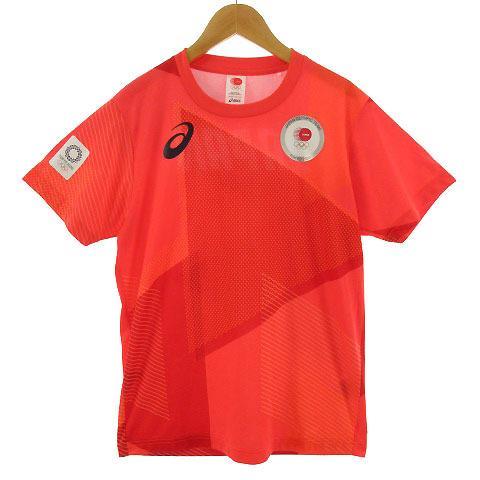 【中古】アシックス asics Tシャツ 半袖 丸首 総柄 オリンピック 2020 オレンジ M メンズ 【ベクトル 古着】|vectorpremium
