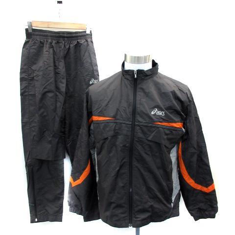 【中古】アシックス asics スポーツウェア ジャージ セットアップ ジャケット スタンドカラー パンツ ナイロン M チャコール オレンジ メンズ 【ベクトル 古着】|vectorpremium