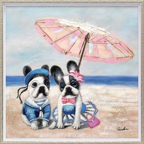 動物画 ビーチパラソル ドッグ オイルペイントアート (Mサイズ) ユーパワー OP-18022