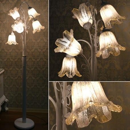 ベネチアンスタイル 5灯フロアーランプWH