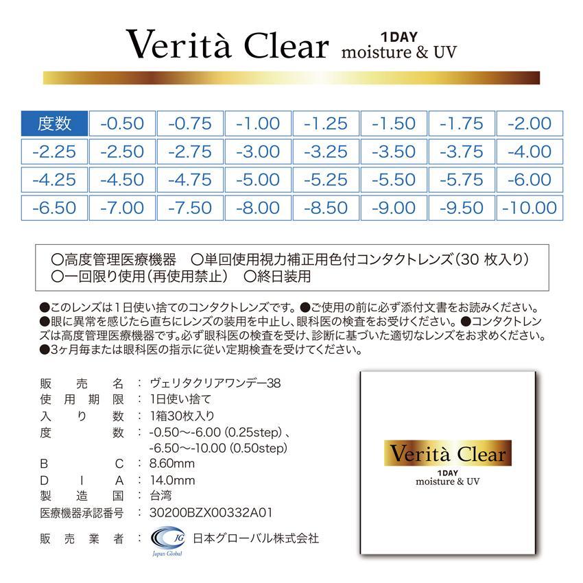 コンタクトレンズ 1day 30枚入り ワンデー 1日使い捨て ヴェリタクリア UVモイスチャー38|verita1day|15