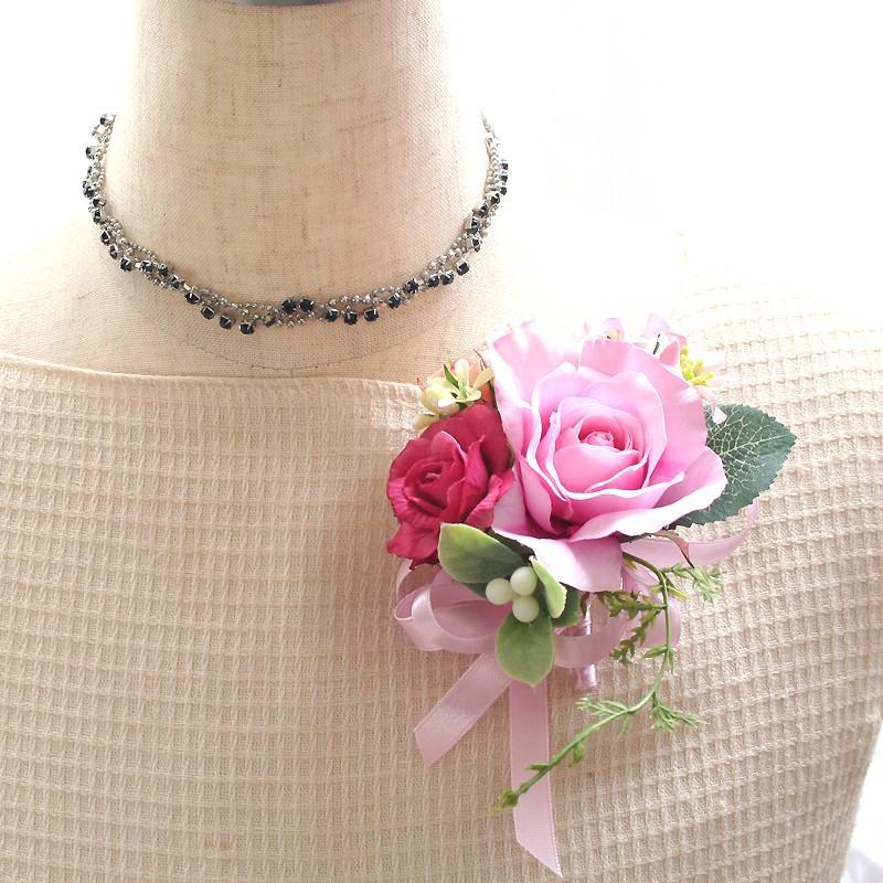 スイートピンク色のバラのコサージュ|vertpalette-store|02