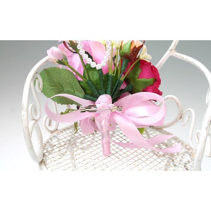 スイートピンク色のバラのコサージュ|vertpalette-store|05