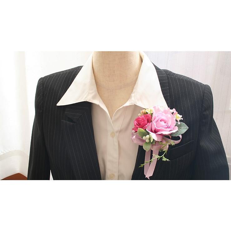 スイートピンク色のバラのコサージュ|vertpalette-store|06