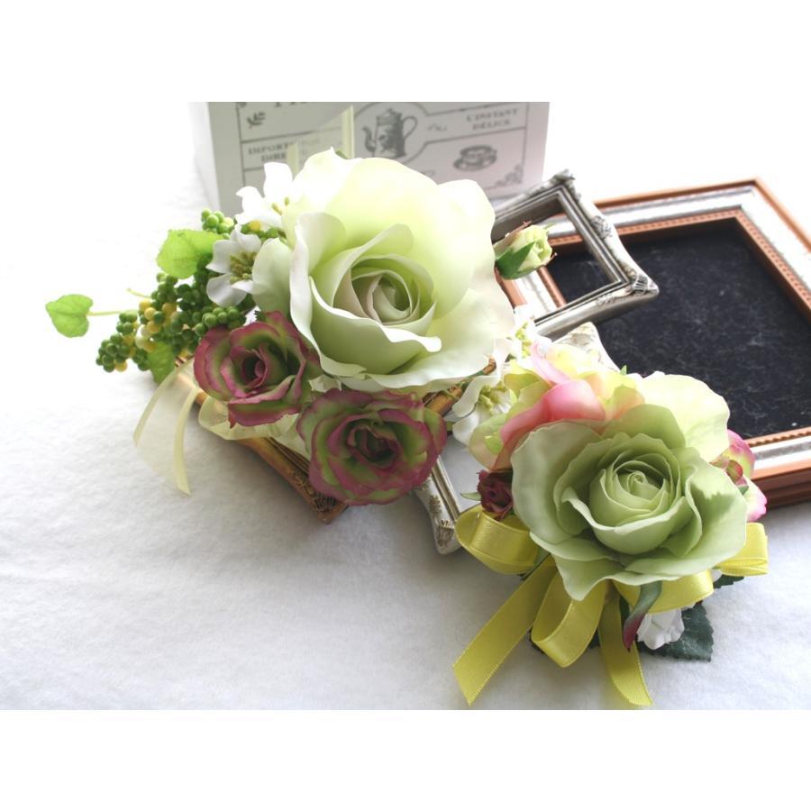 ライトグリーンのバラのコサージュセット|vertpalette-store