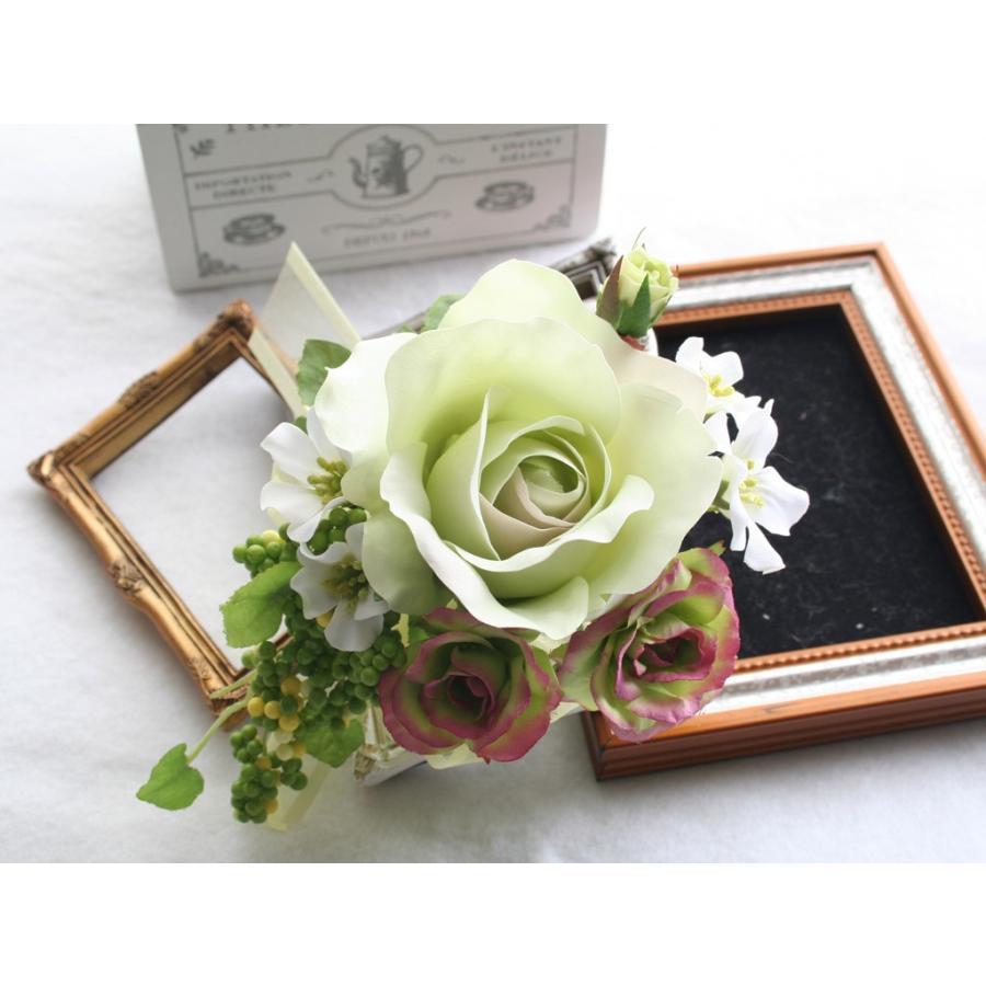 ライトグリーンのバラのコサージュセット|vertpalette-store|03
