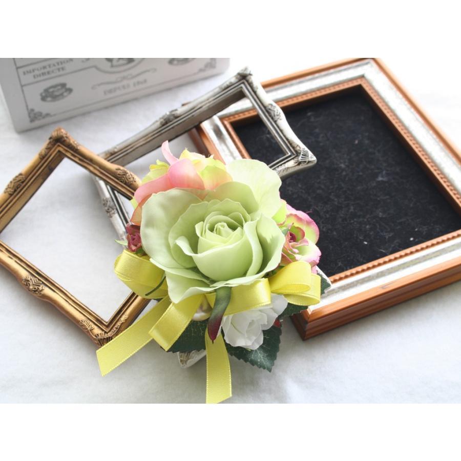 ライトグリーンのバラのコサージュセット|vertpalette-store|04