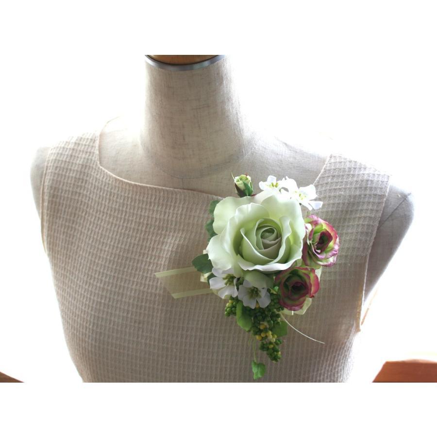 ライトグリーンのバラのコサージュセット|vertpalette-store|05