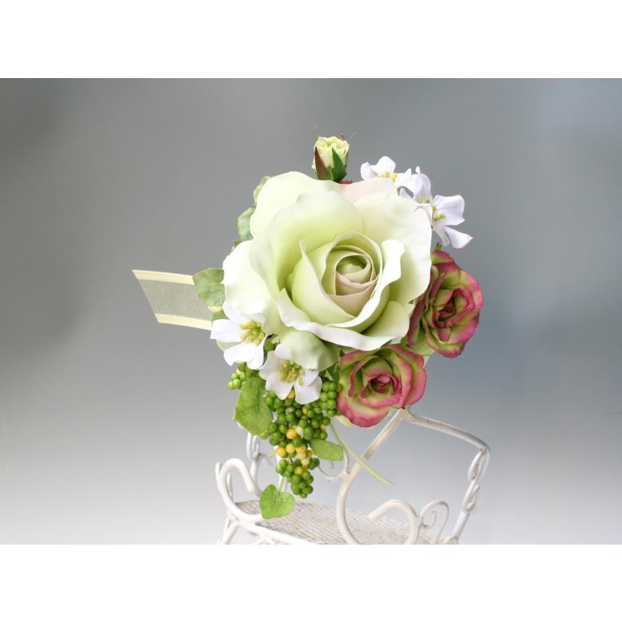 ライトグリーンのバラのコサージュセット|vertpalette-store|07