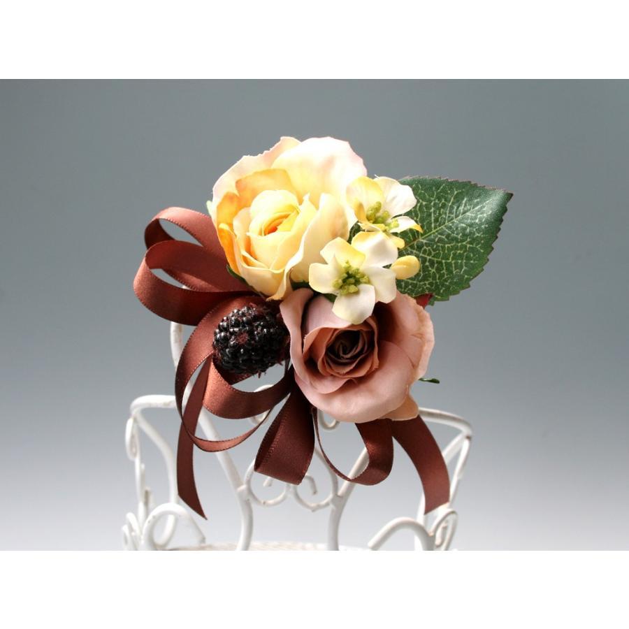 黄色とブラウンの小さなバラのコサージュ|vertpalette-store|03