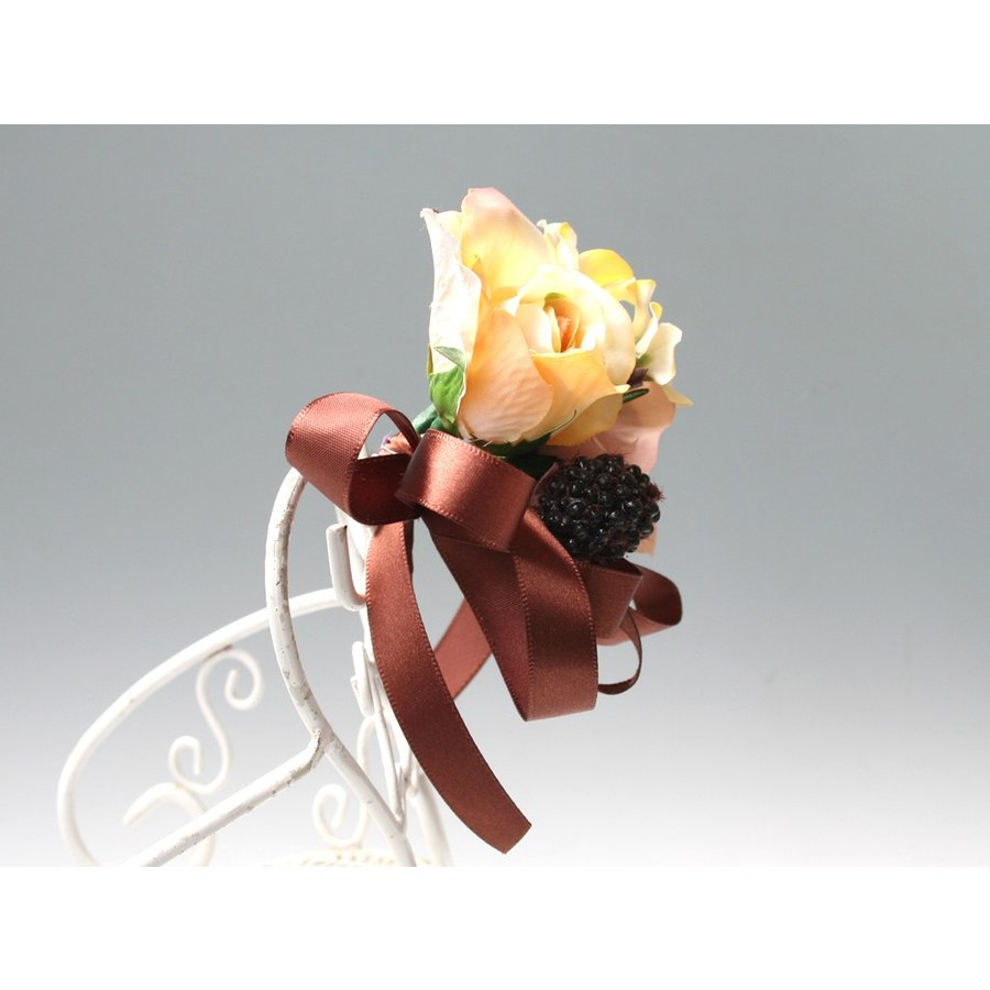 黄色とブラウンの小さなバラのコサージュ|vertpalette-store|04