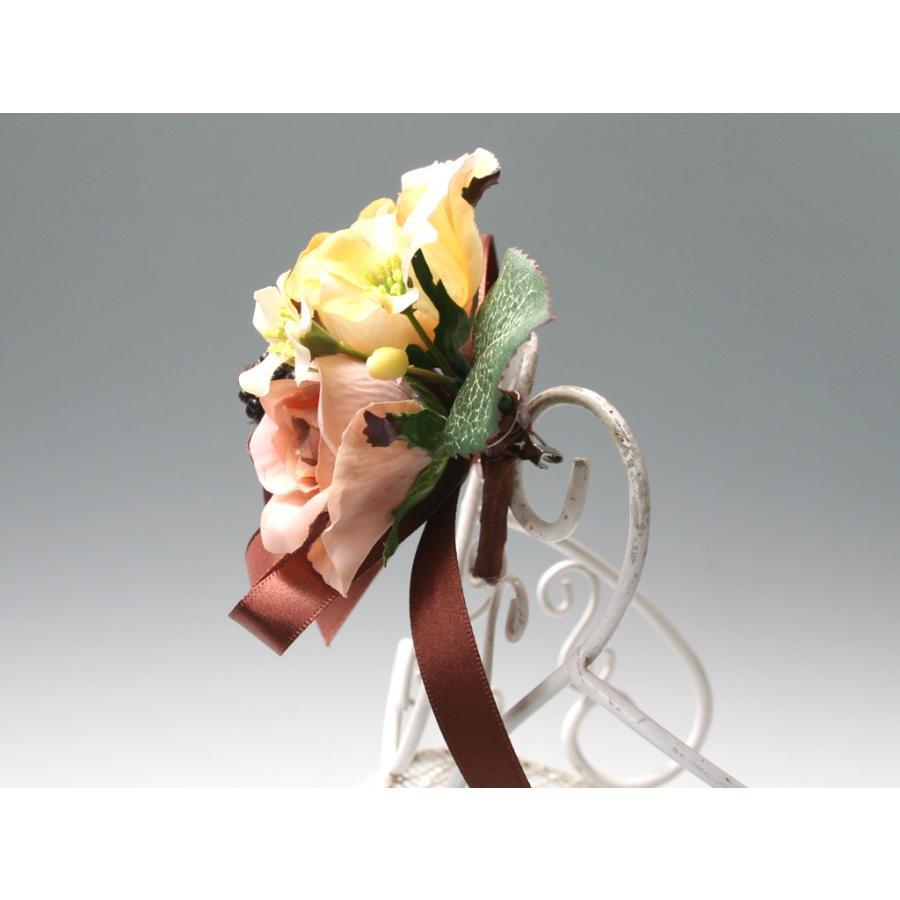 黄色とブラウンの小さなバラのコサージュ|vertpalette-store|05