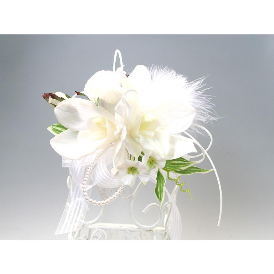 白色のシンビジウムのコサージュ|vertpalette-store|03