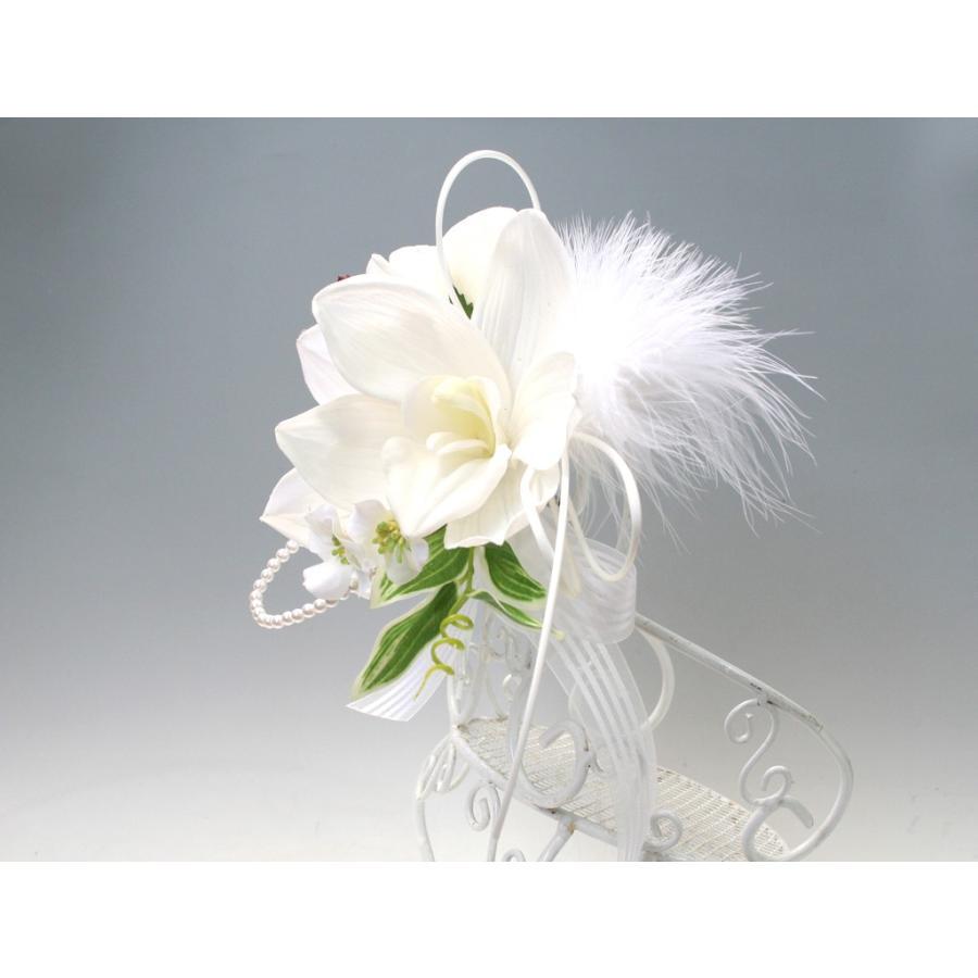 白色のシンビジウムのコサージュ|vertpalette-store|04