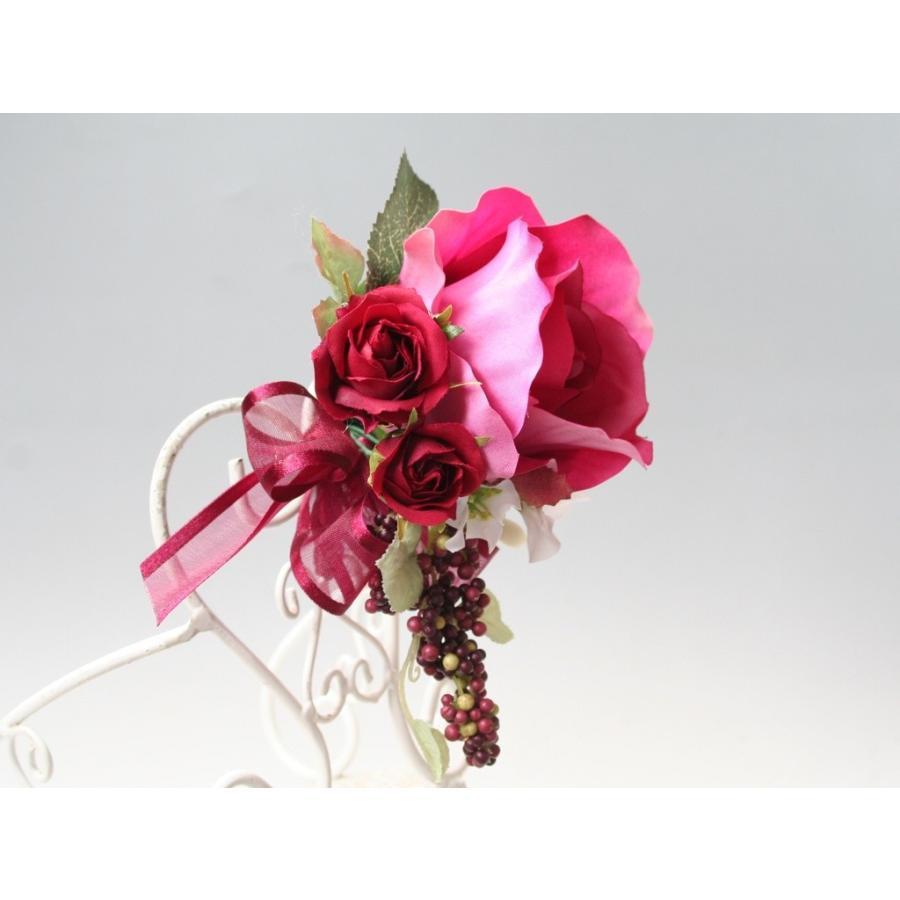赤ワイン色のバラのコサージュ|vertpalette-store|04